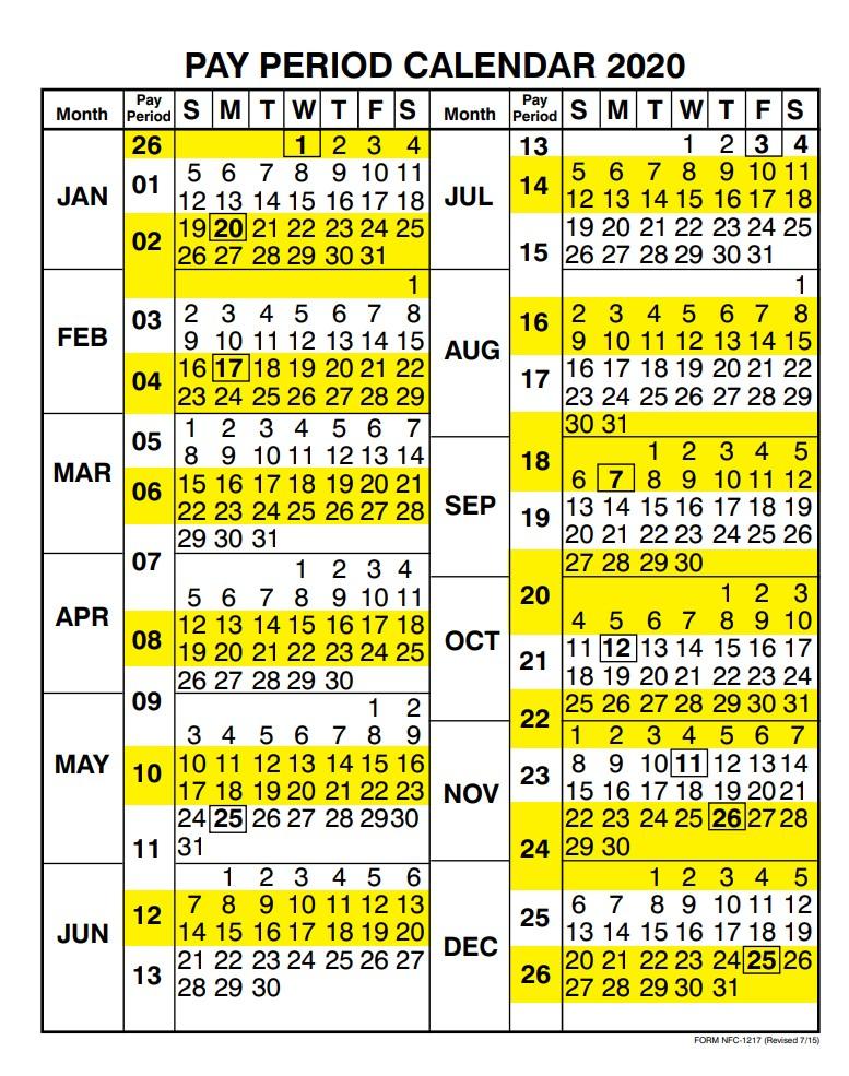 Federal Payroll Calendar 2021