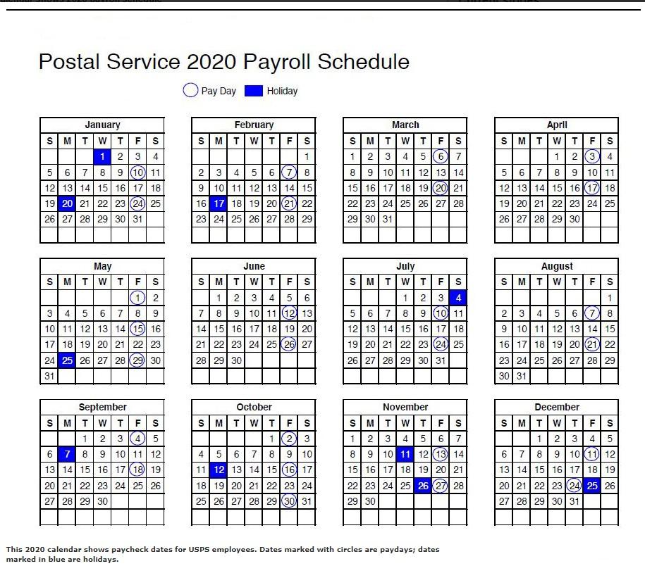 Usps Pay Calendar 2021
