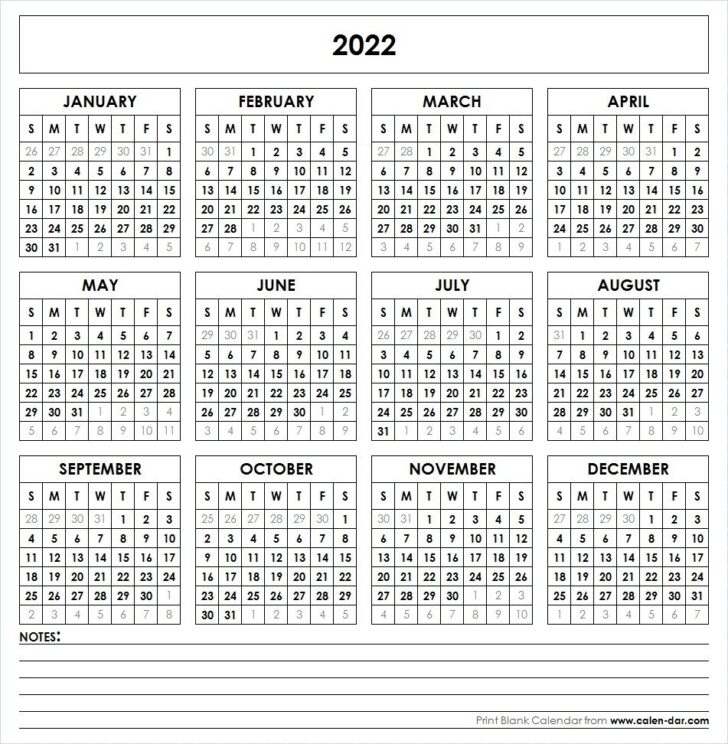 2022 Printable Calendar By Month With Holidays