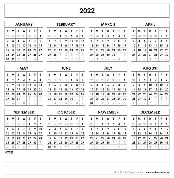 Free Printable 2022 Calendar Landscape