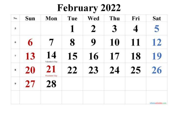 February 2022 Printable Calendar Free