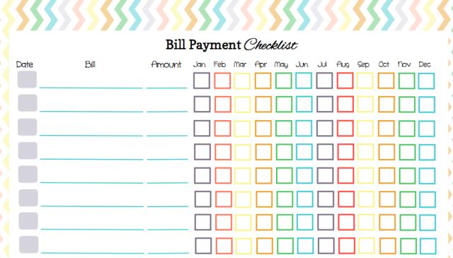 Monthly Bill Calendar Printable