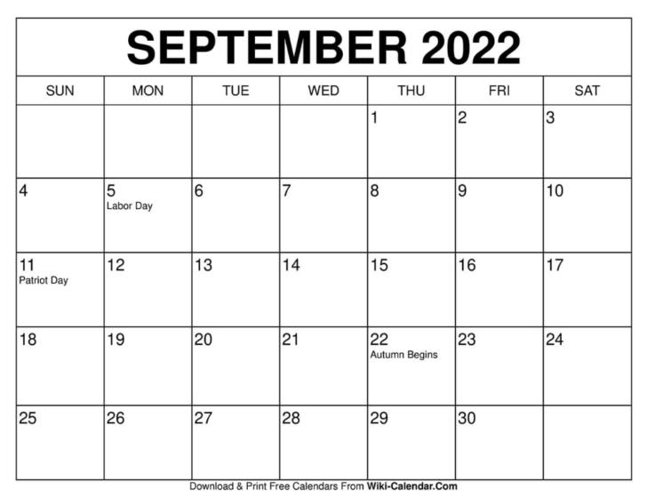 Calendar For September 2022 Printable
