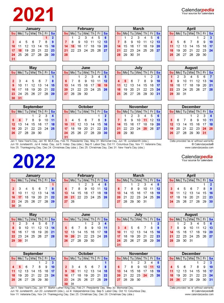 2022-21 Calendar Printable
