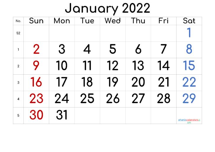 Free Printable Calendar January 2022