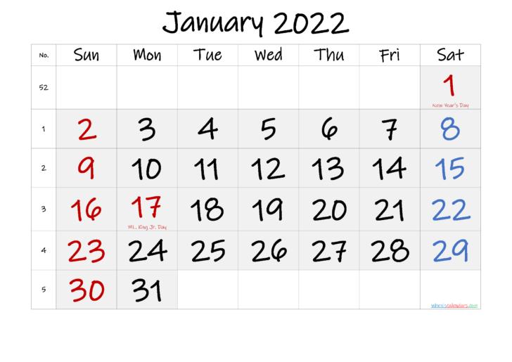 Calendar Jan 2022 Printable