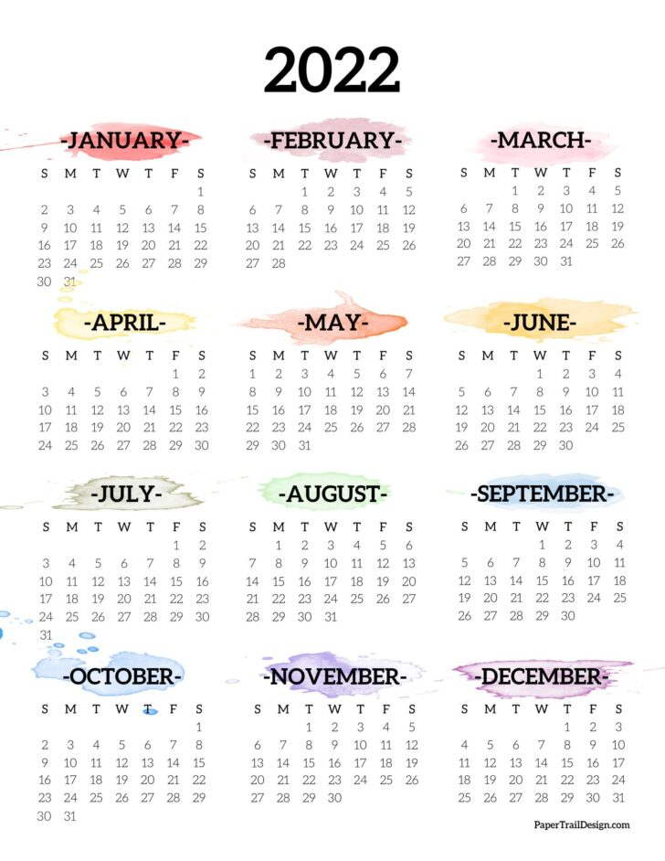 Monthly Calendars 2022 Printable
