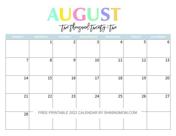 Free Printable Monthly 2022 Calendar