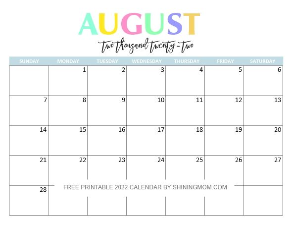 2022 Free Printable Monthly Calendar