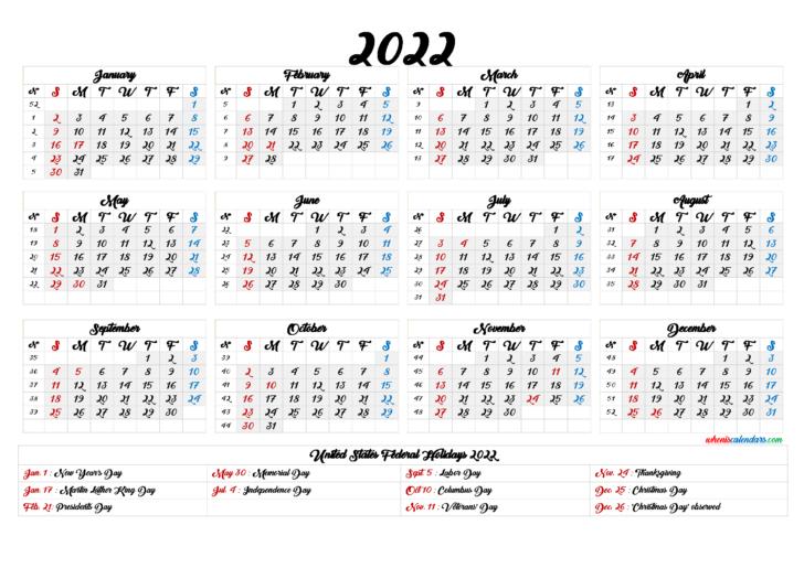 2022 Weekly Calendar Printable