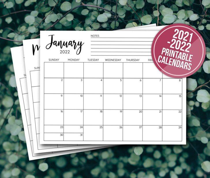 Monthly Printable Calendar 2022