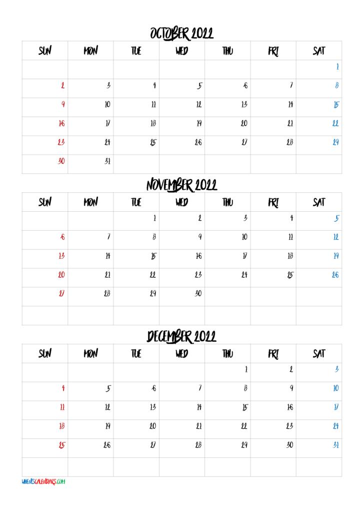 Free Printable October Calendar 2022