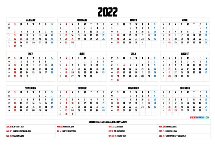 Free Printable Calendar With Holidays 2022