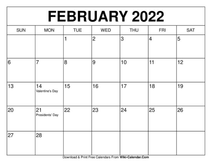 2022 February Printable Calendar
