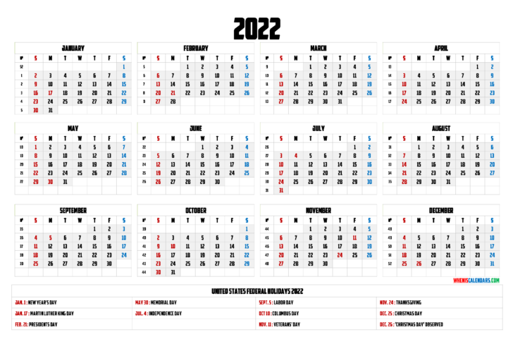 Free Printable Monthly Calendar 2022 With Holidays