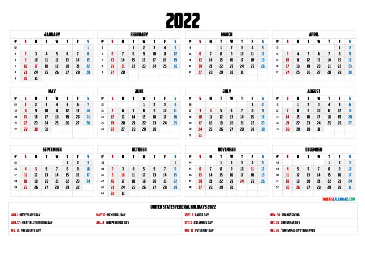 Calendar 2022 With Holidays Printable