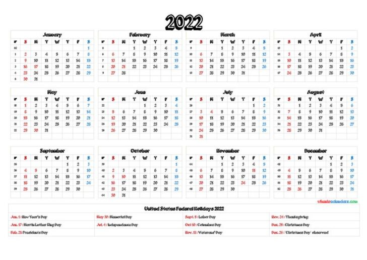 Printable Word Calendar 2022