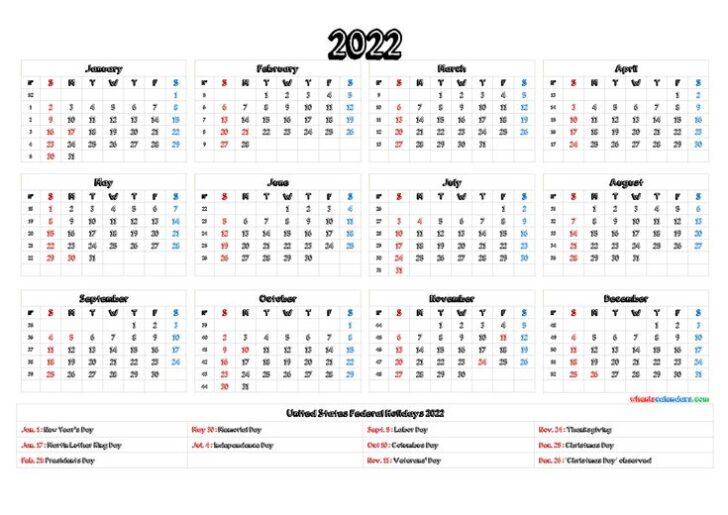 Word Printable Calendar 2022