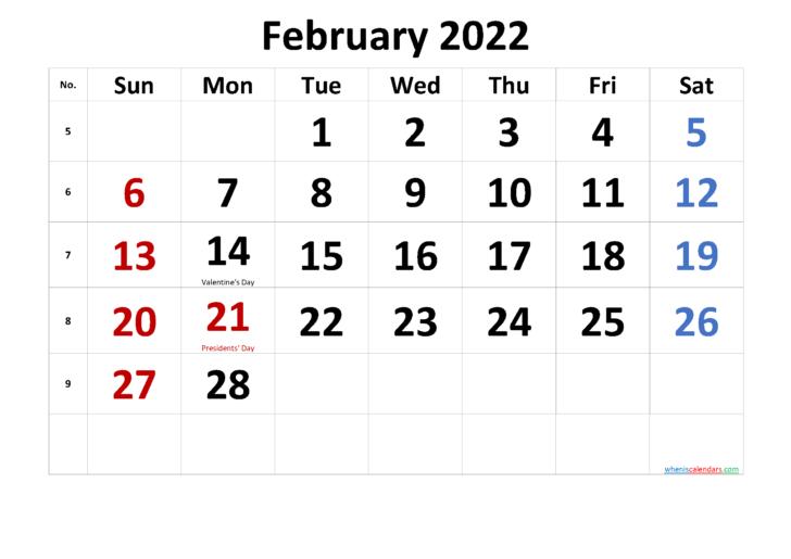 Feb 2022 Calendar Printable