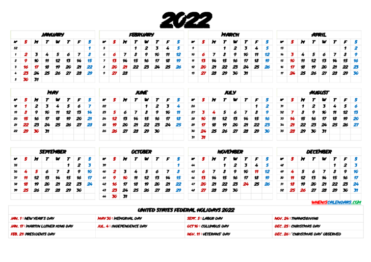 Printable 2022 Monthly Calendar With Holidays