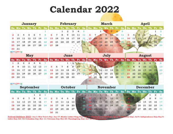 2022 Calendar With Federal Holidays Printable