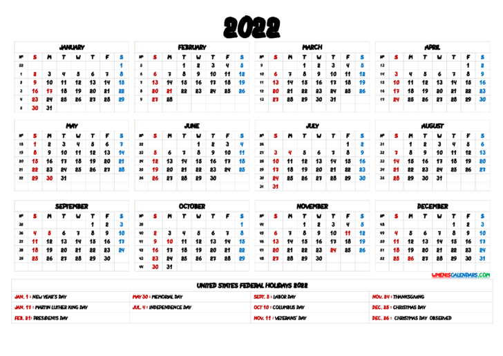 Free Printable Yearly Calendar 2022 With Holidays