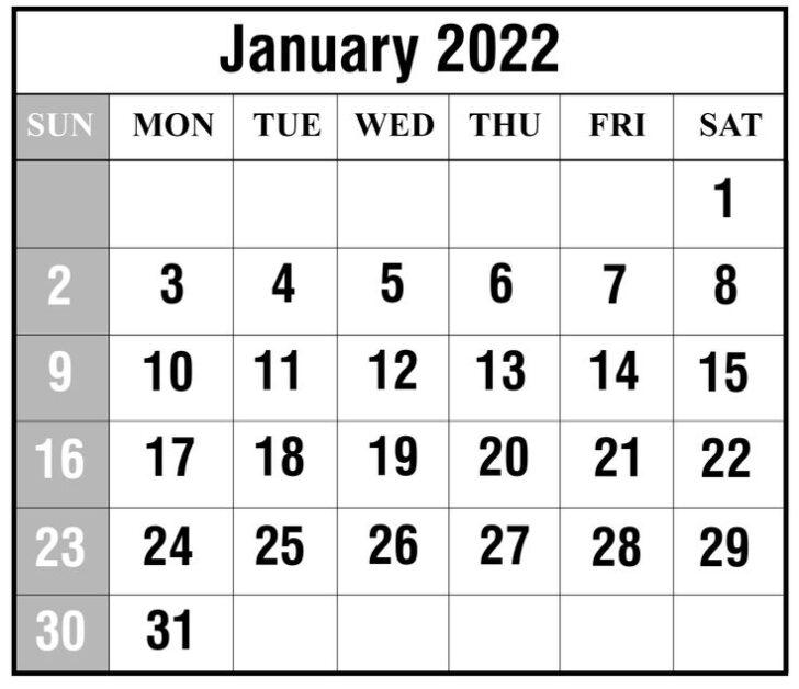 Online Printable Calendar 2022