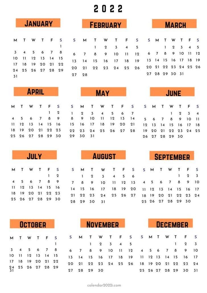 2022 Monthly Calendar Printable