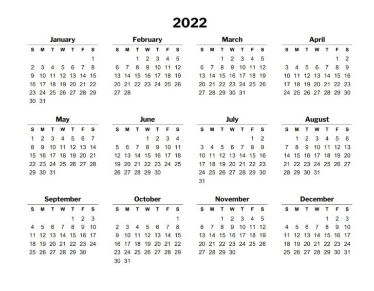 12 Month Printable Calendar 2022