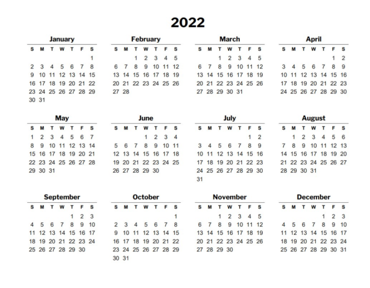 Calendar For 2022 Printable