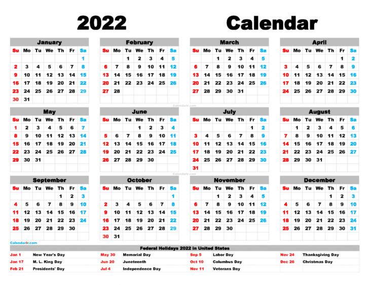 Printable 2022 Calendar With Us Holidays